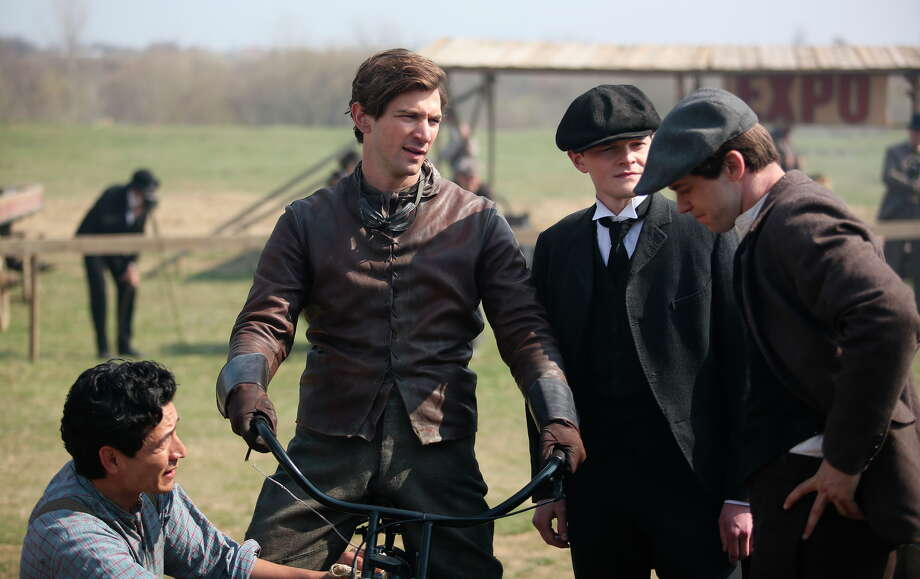 Gabriel Luna (left), Michiel Huisman, Robert Aramayo and Bug Hall play early motorcycle developers. Photo: Keith Bernstein / Photos By Keith Bernstein / Discovery / Discovery Communications, Inc.