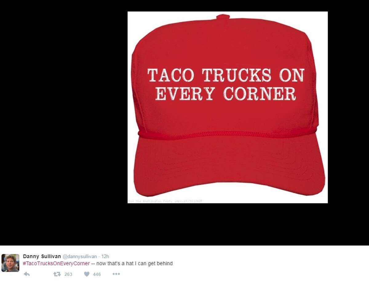 """#TacoTrucksOnEveryCorner -- now that's a hat I can get behind,"" @dannysullivan."