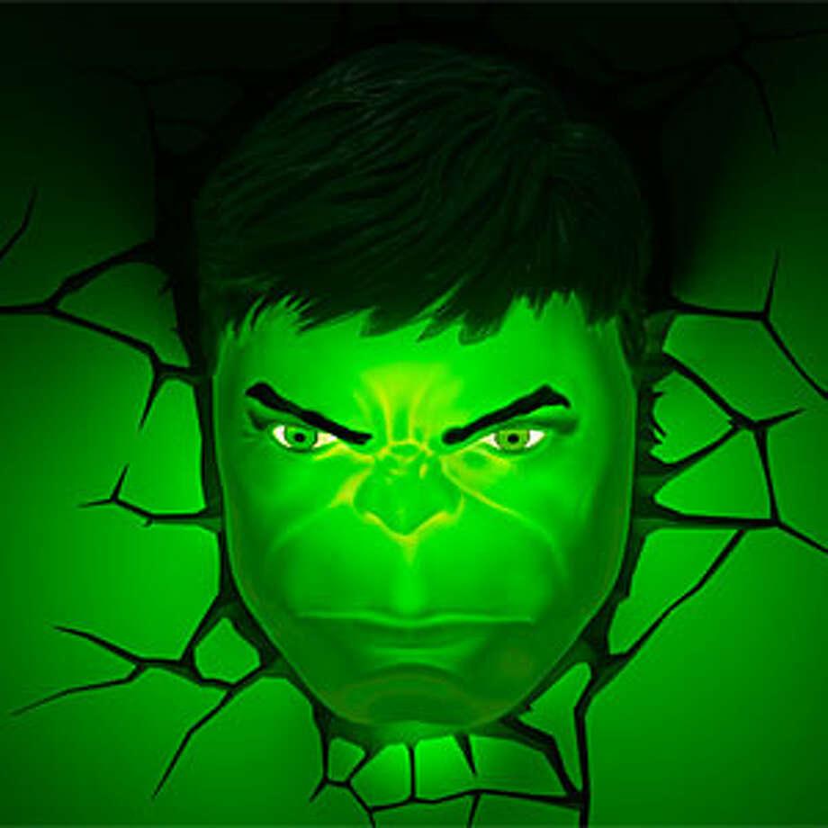 A superhero wall light is $29.99 at ThinkGeek.com