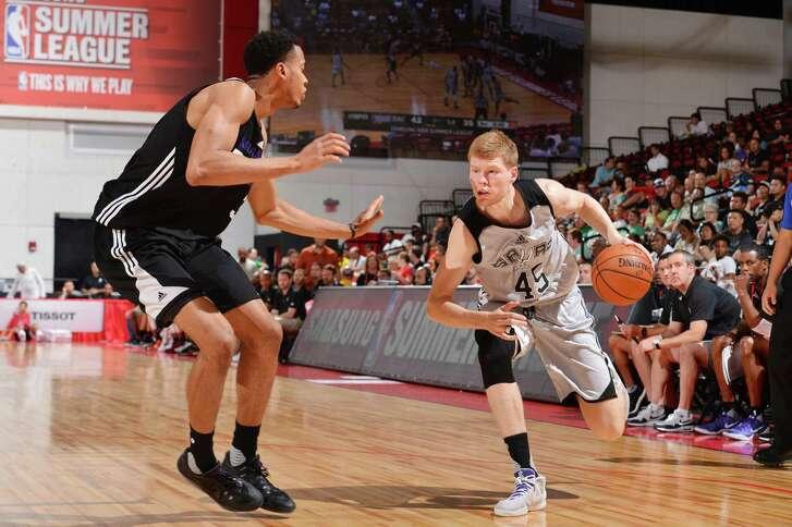 The Spurs' Davis Bertans looks to drive against Sacramento during an NBA Las Vegas Summer League game in 2016.