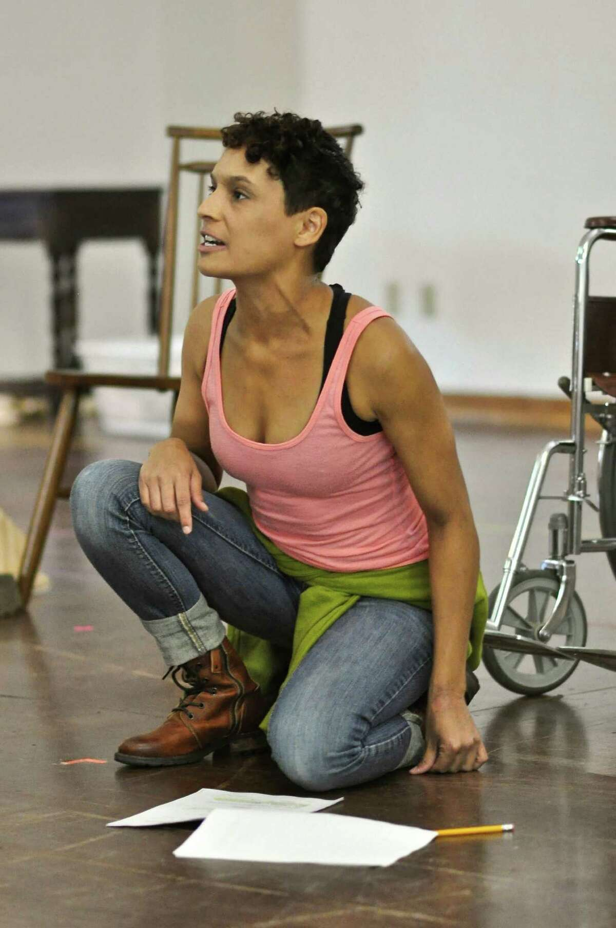 """Actress Vanessa R Butler rehearses a scene for """"Queens For a Year,"""" at Hartford Stage. Written by T. D. Mitchell, the production opens for previews on Thursday, Sept. 8, and runs through Sunday, Oct. 2."""