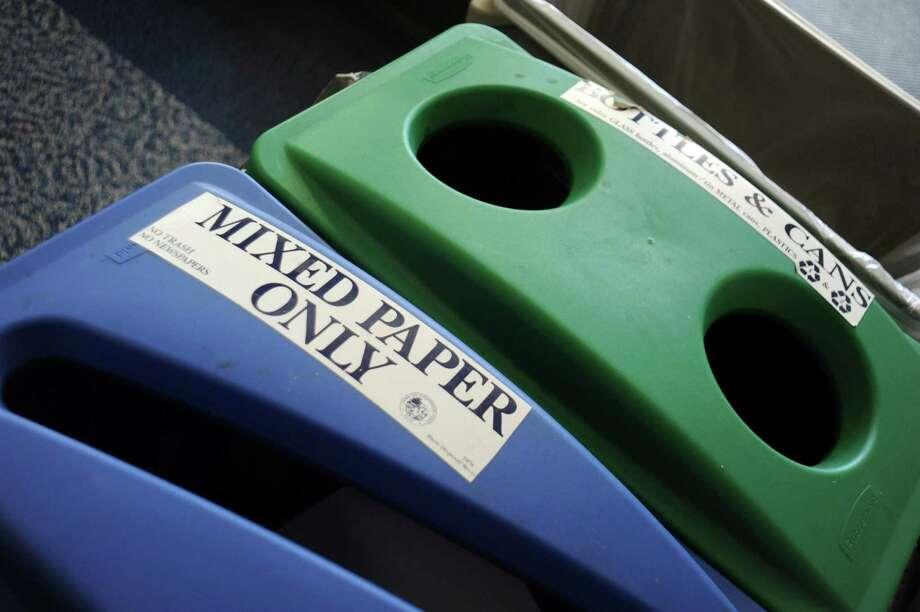 File photo. Recycling bins. Photo: Helen Neafsey / Greenwich Time / Greenwich Time