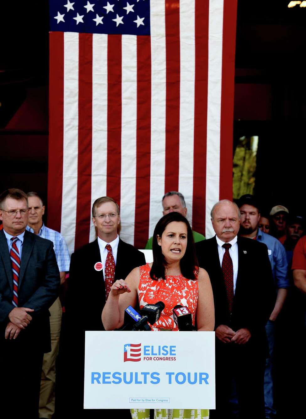 Representative Elise Stefanik speaks at D. A. Collins August 29, 2016 in Wilton, N.Y. (Skip Dickstein/Times Union)