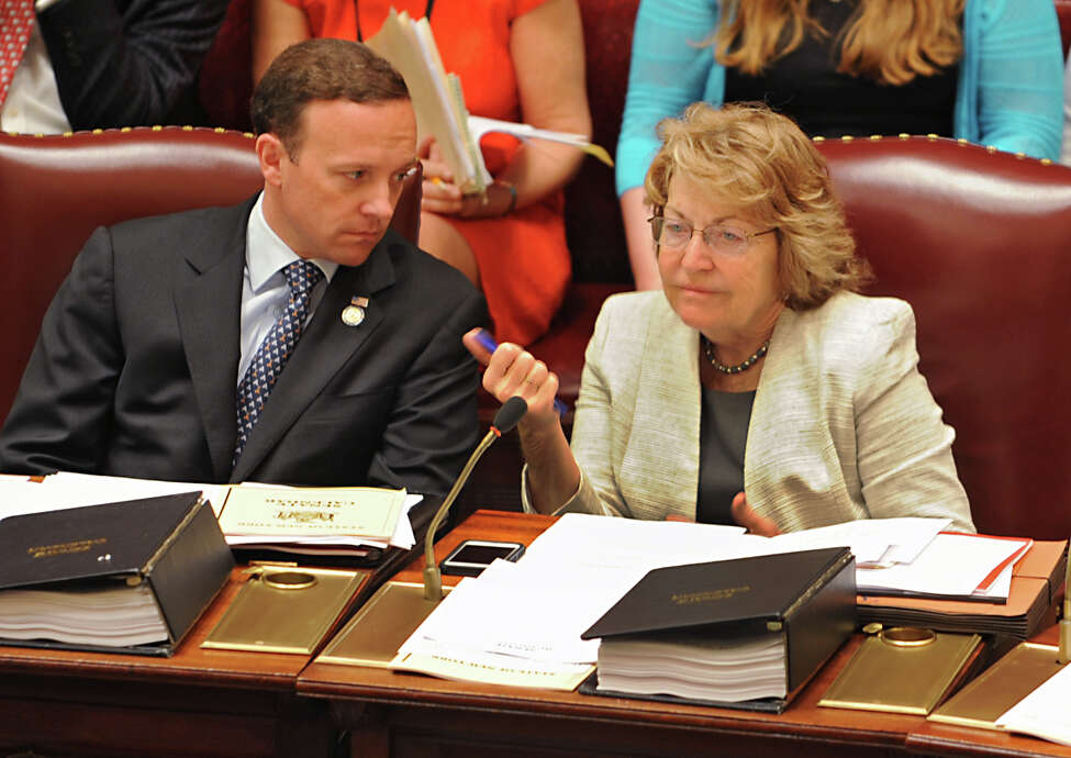 Senators Thomas Croci and Betty Little chat during session in the senate chamber at the New York State Capitol on Tuesday, May 5, 2015, in Albany, N.Y. (Lori Van Buren / Times Union archive)
