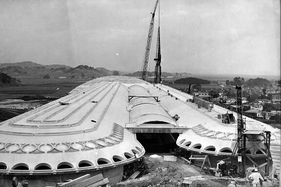 The 172 foot tower is being hauled into place at Marin County Civic Center designed by Frank Lloyd Wright Photographed 012/14/1961  Photo ran 12/18/1961,P. 4