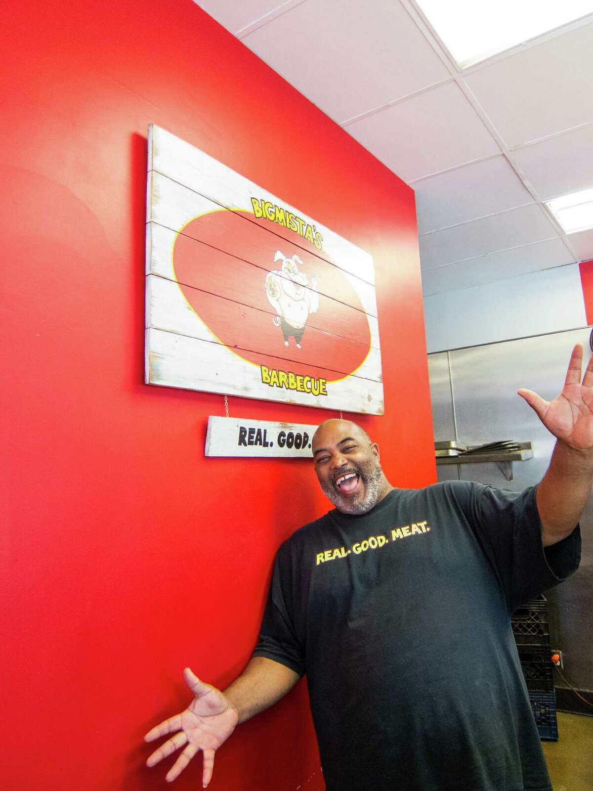 """Galveston native Neil Strawder runs Bigmista's Barbecue in Long Beach, Calif. He and his wife, Phyllis, are competing this season on the Food Network's """"The Great Food Truck Race."""""""