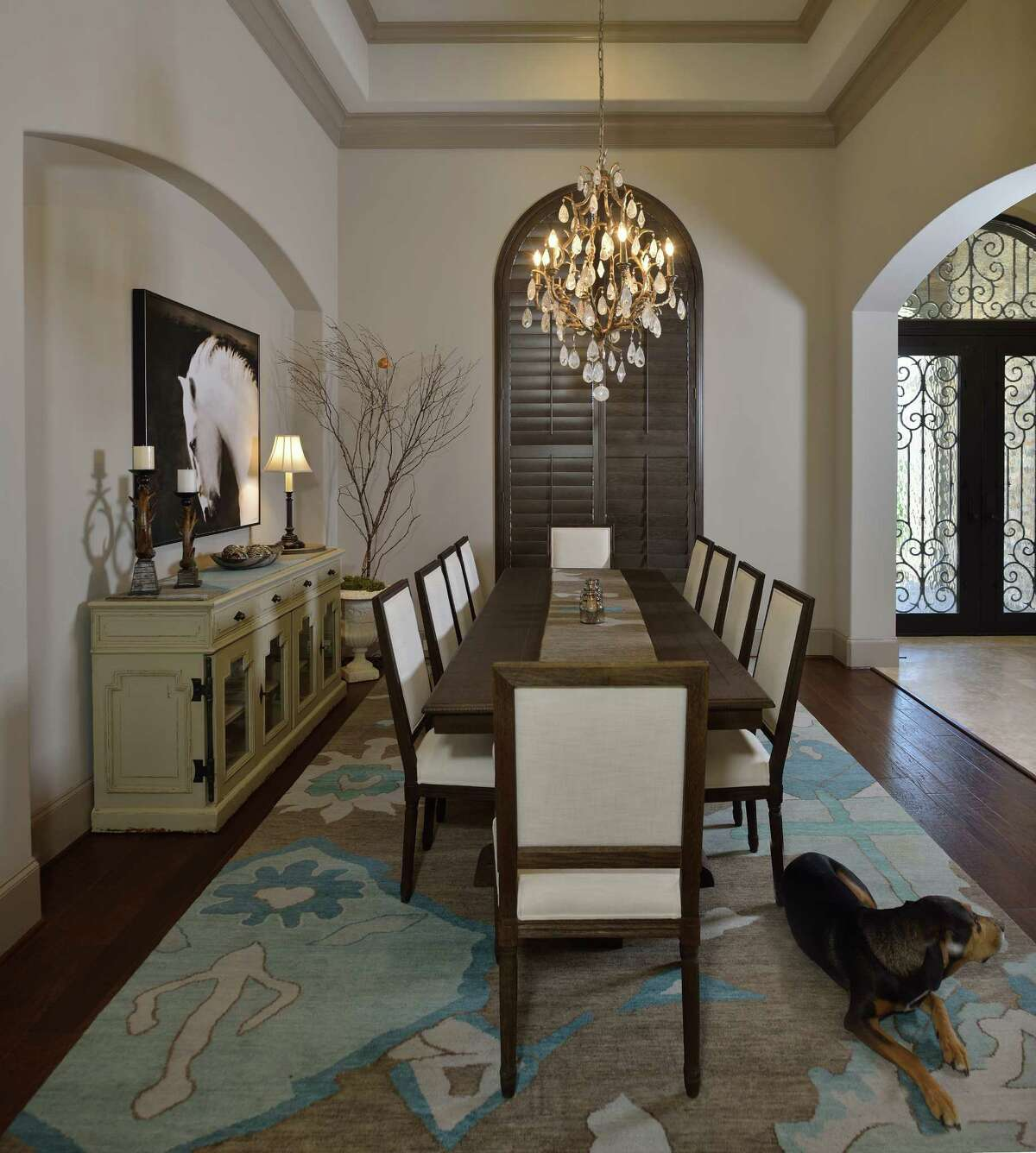 The dining roomin the home of Randy and Shari Ziebarth of Kingwood.