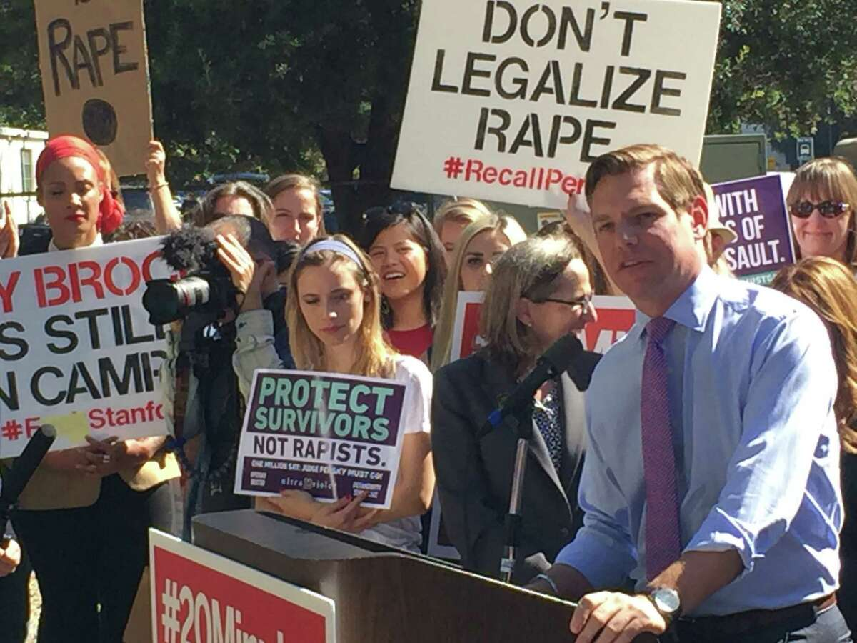 Rep. Eric Swalwell, D-Dublin, speaks to protesters on Friday, Sept. 2, 2016, outside the Hall of Justice in San Jose. Demonstrators demanded the recall of Santa Clara County Superior Court Judge Aaron Persky over a six-month county jail sentence he gave Brock Turner, the former Stanford swimmer convicted of sexually assaulting an unconscious woman.