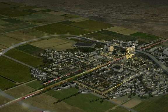 A rendering of the proposed city in the New Mexico desert.