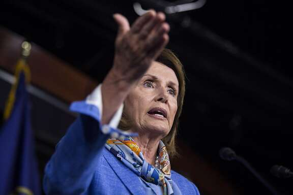 FILE -- House Minority Leader Nancy Pelosi (D-Calif.) speaks during a news conference on Capitol Hill in Washington, Aug. 11, 2016. At a retreat this month in Napa Valley that Pelosi convened, Rep. Ben Ray Lujan of New Mexico gave a presentation to donors outlining plans to put new House seats in play in upcoming elections. (Al Drago/The New York Times)