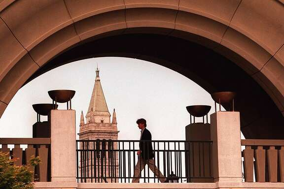 The main archway at the Haas School of Business, University of California at Berkeley, with a view of the campanile.