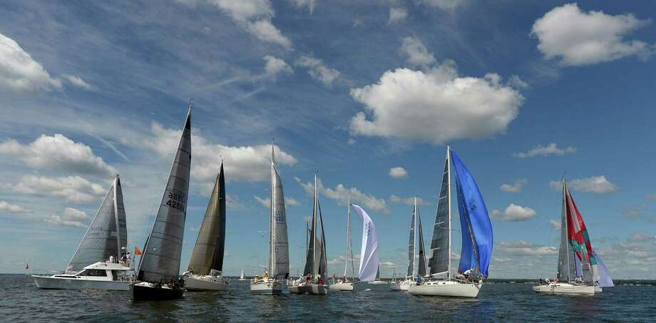 Competitors get underway for the start of the Vineyard Race outside Stamford Harbor on Sept.2, 2016. Over 100 vessels competing over the Labor Day weekend will race on three different courses that will take some as far as Buzzards Bay. Participants in the 82nd running of the race that began in 1932, will be returning to Stamford to finish on Saturday and Sunday. Photo: Matthew Brown / Hearst Connecticut Media / Stamford Advocate