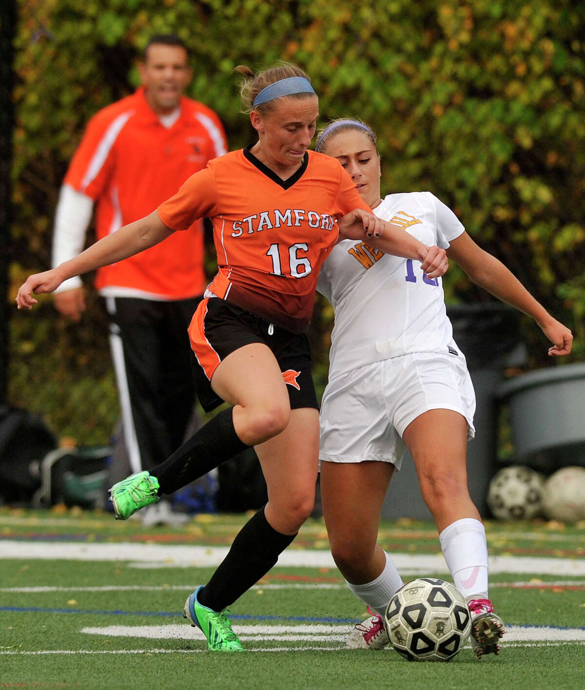 Stamford's Erica Stietzel and Westhill's Natalie Druehl compete for control of the ball during their game at Westhill High School in Stamford, Conn., on Tuesday, Oct. 14, 2014. Westhill won, 4-0.
