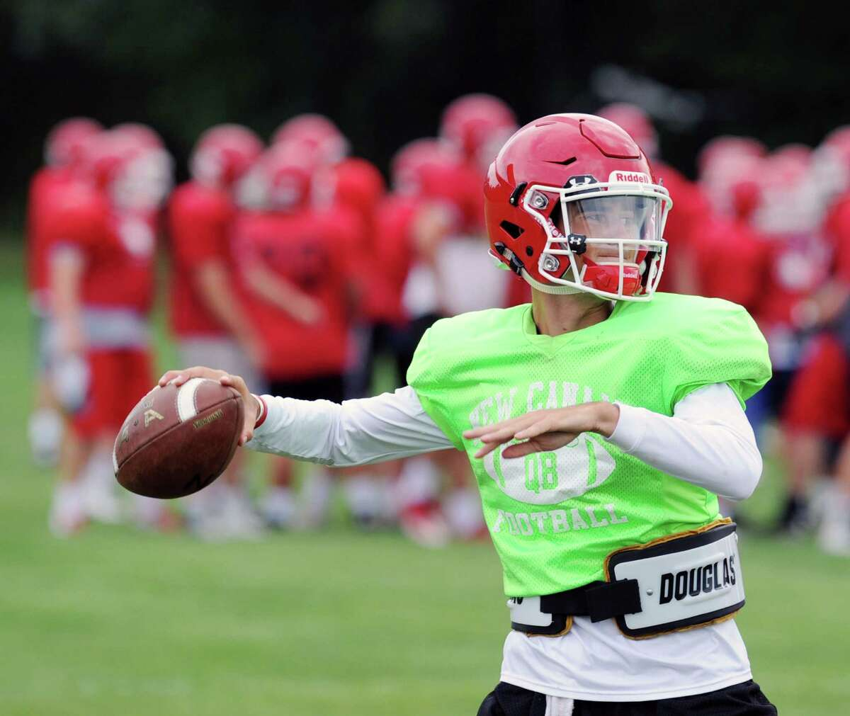 New Canaan High School quarterback Drew Pyne, a freshman, during New Canaan High School football practice at the school in New Canaan, Conn., Thursday, Sept. 1, 2016.