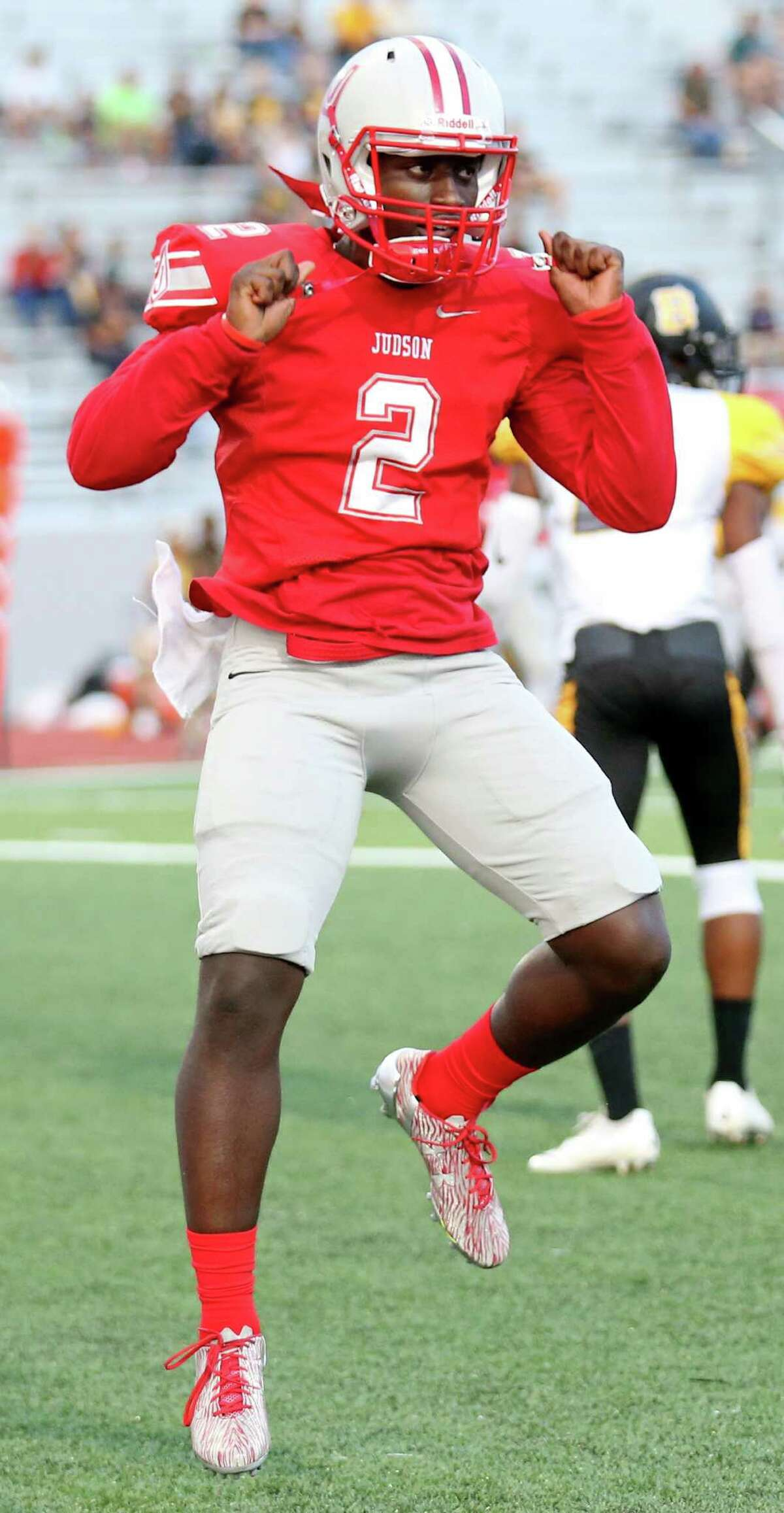 Judson's Julon Williams celebrates after scoring a touchdown against Brennan during first half action Friday Sept. 2, 2016 at Rutledge Stadium.