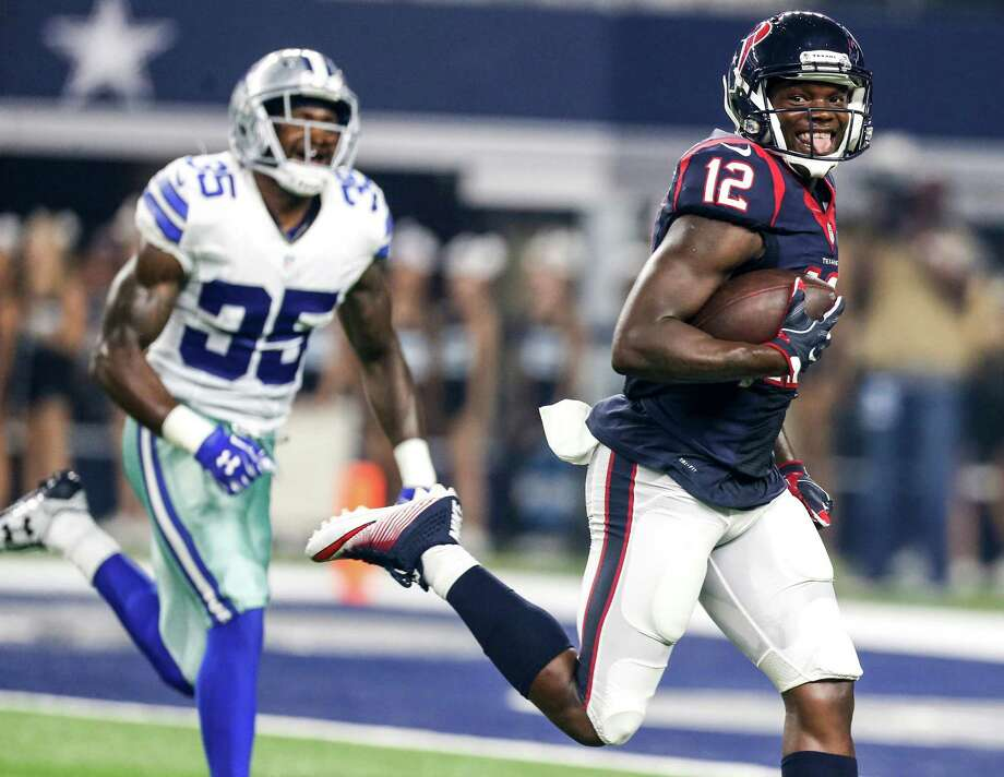 Texans receiver Keith Mumphery (12) runs past Cowboys safety Kavon Frazier (35) as he races into the end zone for a 64-yard TD reception during the second quarter of this year's preseason win over the Cowboys. Photo: Brett Coomer, Staff / © 2016 Houston Chronicle