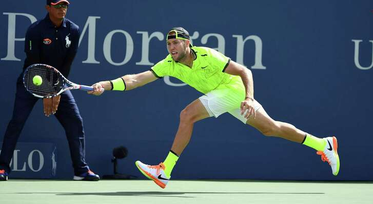 Jack Sock of the U.S. won all 14 of his service games in beating No. 7 Marin Cilic of Croatia during their 2016 U.S. Open singles match Friday.