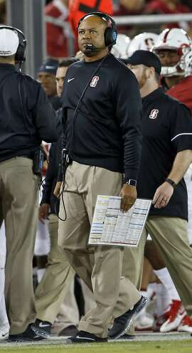Stanford head coach David Shaw in 3rd quarter against Kansas State during college football game in Stanford, Calif., on Friday, September 2, 2016.
