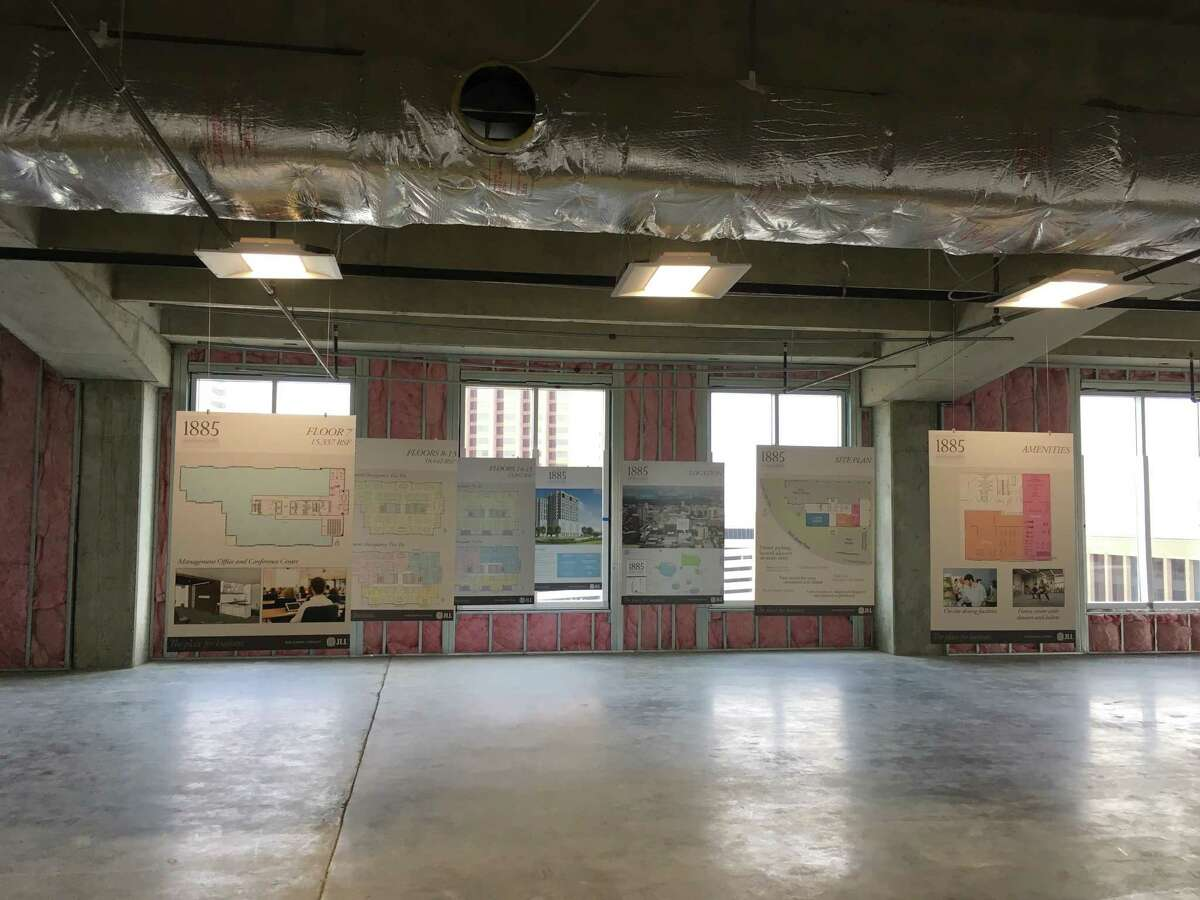 Various floorplan configurations are shown on a floor of the new 1885 St. James Place building. JLL is marketing the 165,000-square-foot building for the owner,1885 St. James Place Partners.