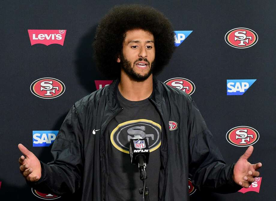 Colin Kaepernick #7 of the San Francisco 49ers speaks to media during a press conference after a 31-21 preseason win over the San Diego Chargers at Qualcomm Stadium on September 1, 2016 in San Diego, California. Photo: Harry How, Getty Images