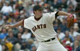 Giants029_LM.jpg  Event on 6/8/03 in San Francisco. Joe Nathan pitches for the Giants in the middle innings. The Giants beat the Detroit Tigers 7-6 at Pac Bell Park.   LIZ MANGELSDORF / The Chronicle