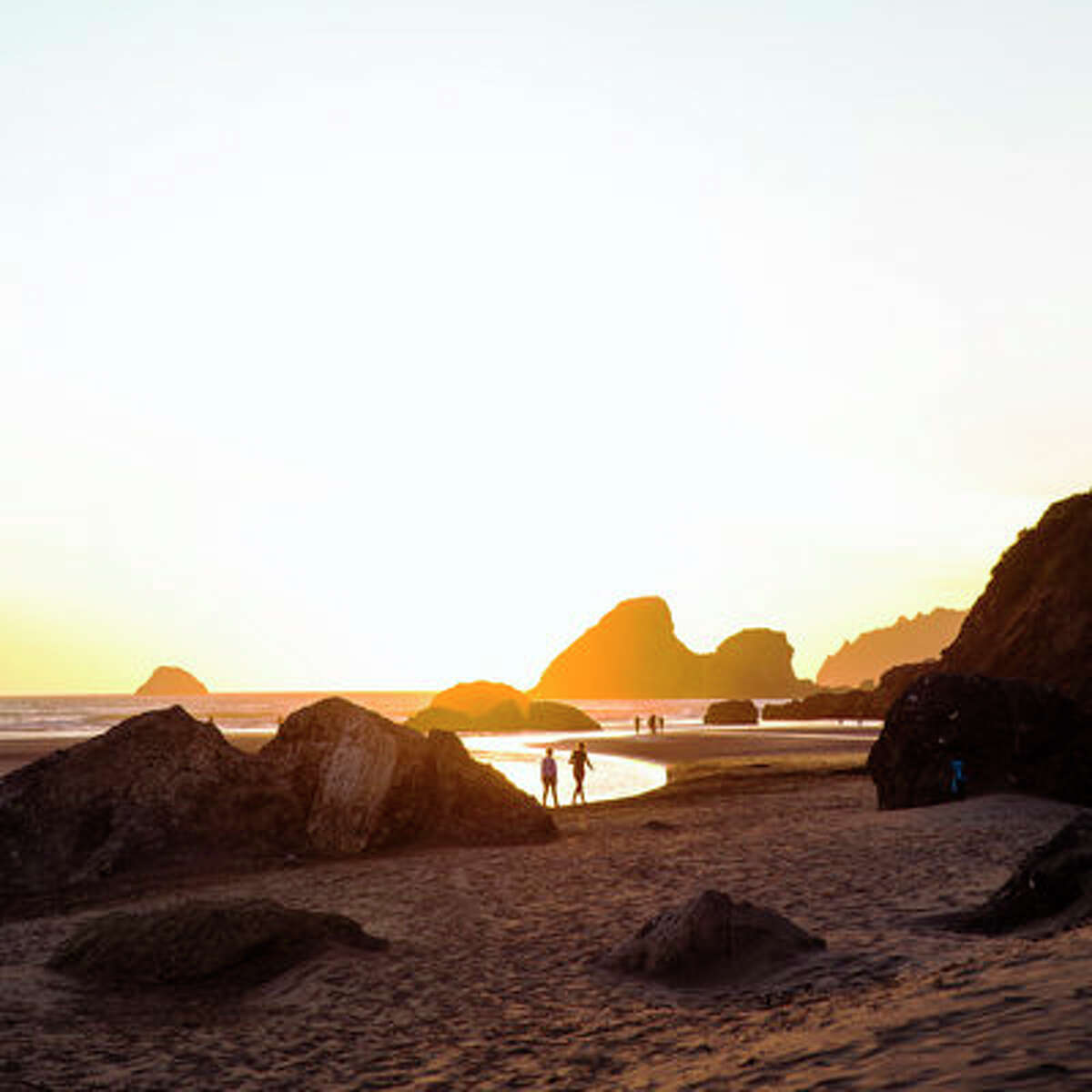 Moonstone Beach at sunset Sunset casts an orange glow on the outcroppings at Moonstone Beach.