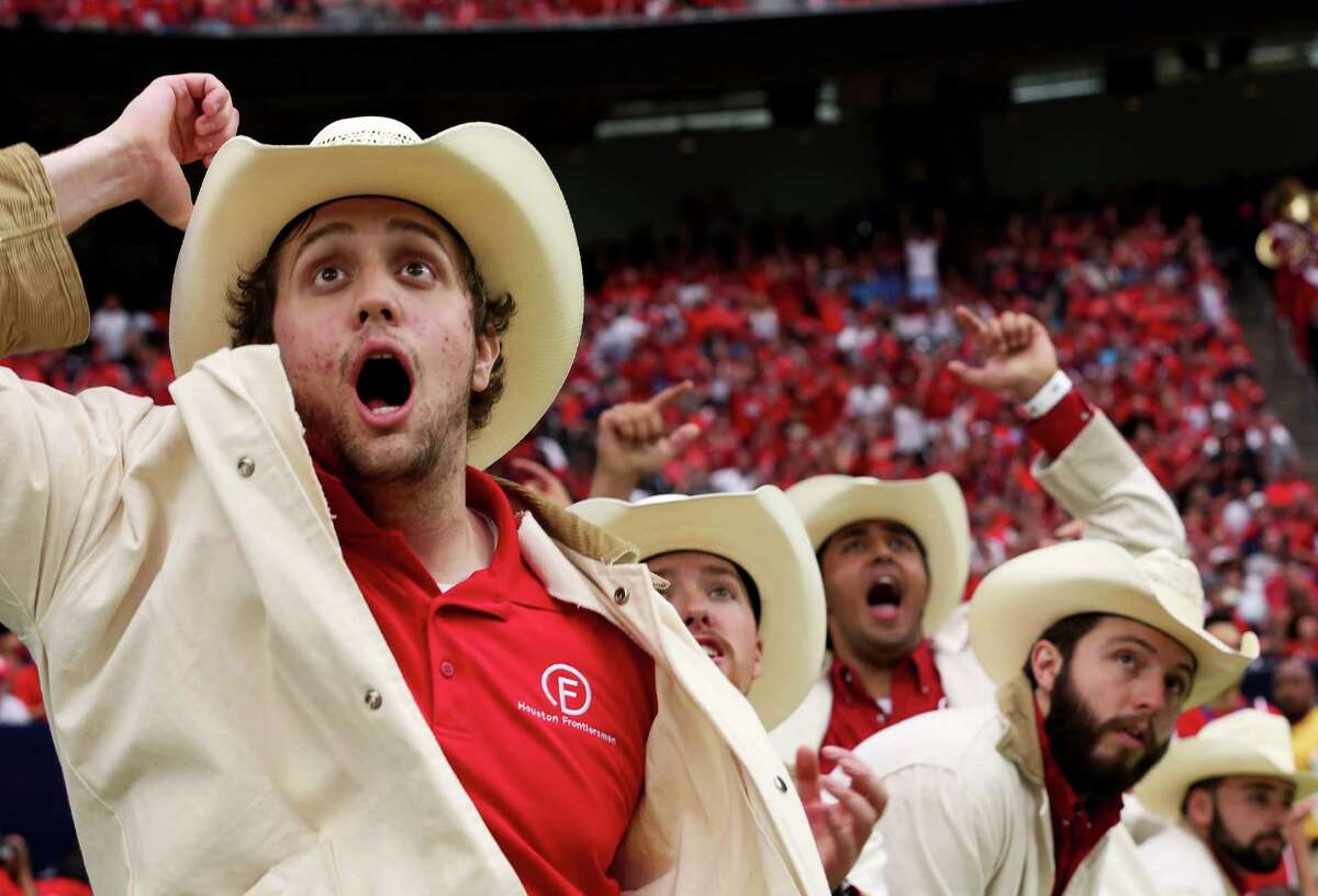 University of Houston Frontiersman Robert Byers cheers for a play during the first half of University of Houston v.s. University of Oklahoma Advocare Texas Kickoff Game at NRG Stadium Saturday, Sept. 3, 2016, in Houston .
