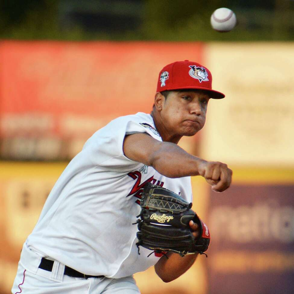 Tri-City ValleyCats starting pitcher Carlos Sanabria in action against the Staten Island Yankees at Joe Bruno Stadium Saturday Sept. 3, 2016 in Troy, NY. (John Carl D'Annibale / Times Union)