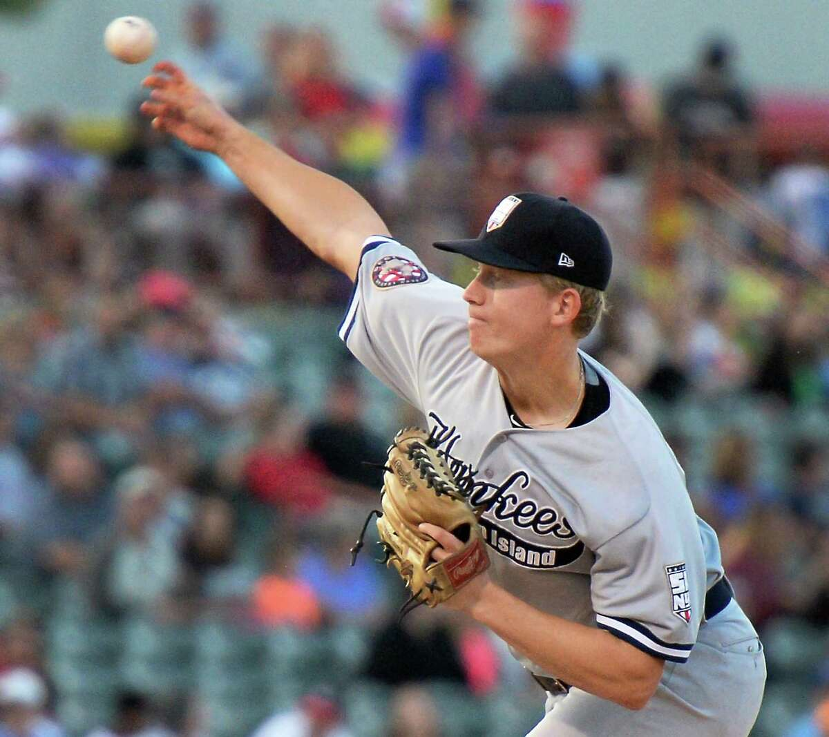 Staten Island Yankees pitcher Chad Martin in action against the Tri-City ValleyCats at Joe Bruno Stadium Saturday Sept. 3, 2016 in Troy, NY. (John Carl D'Annibale / Times Union)