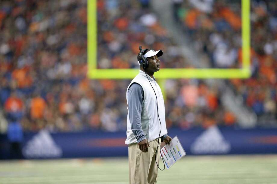 UTSA Roadrunners head coach Frank Wilson waits for a call during second half action against the Alabama State Hornets Saturday Sept. 3, 2016 at the Alamodome. UTSA won 26-13. Photo: Edward A. Ornelas, Staff / San Antonio Express-News / © 2016 San Antonio Express-News