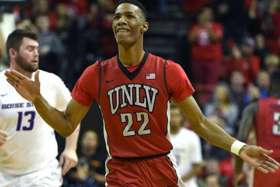 LAS VEGAS, NV - JANUARY 27:  Patrick McCaw #22 of the UNLV Rebels reacts after hitting a 3-pointer against the Boise State Broncos during their game at the Thomas & Mack Center on January 27, 2016 in Las Vegas, Nevada. UNLV won 87-77.  (Photo by Ethan Miller/Getty Images)