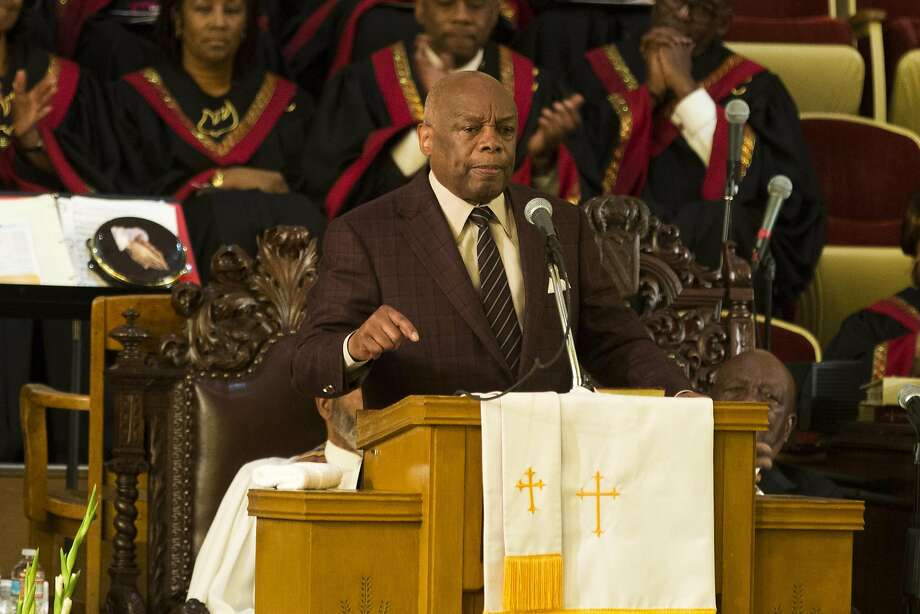 """Former San Francisco Mayor Willie Brown addresses the congregation during Sunday service at Third Baptist Church in San Francisco, Calif. on Sunday, Sept. 4, 2016. San Francisco 49ers quarterback Colin Kaepernick was scheduled to speak but was unable to attend due to """"rigors of training,"""" according to Rev. Amos Brown. Photo: Stephen Lam, Special To The Chronicle"""