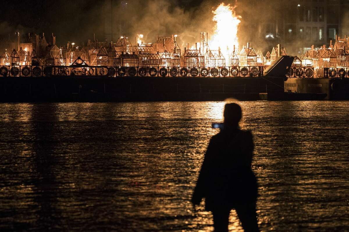 A 120-metre long model of London's 17th-century skyline burns after it was set alight in a dramatic retelling of the story of the Great Fire of London on September 4, 2016 in London, England. The event commemorated the 350th anniversary of the Great Fire of London.