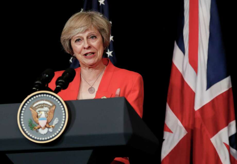British Prime Minister Theresa May talks to media with U.S. President Barack Obama after their bilateral meeting in Hangzhou in eastern China's Zhejiang province, Sunday, Sept. 4, 2016, alongside the G20. (AP Photo/Carolyn Kaster) Photo: Carolyn Kaster, STF / Copyright 2016 The Associated Press. All rights reserved.