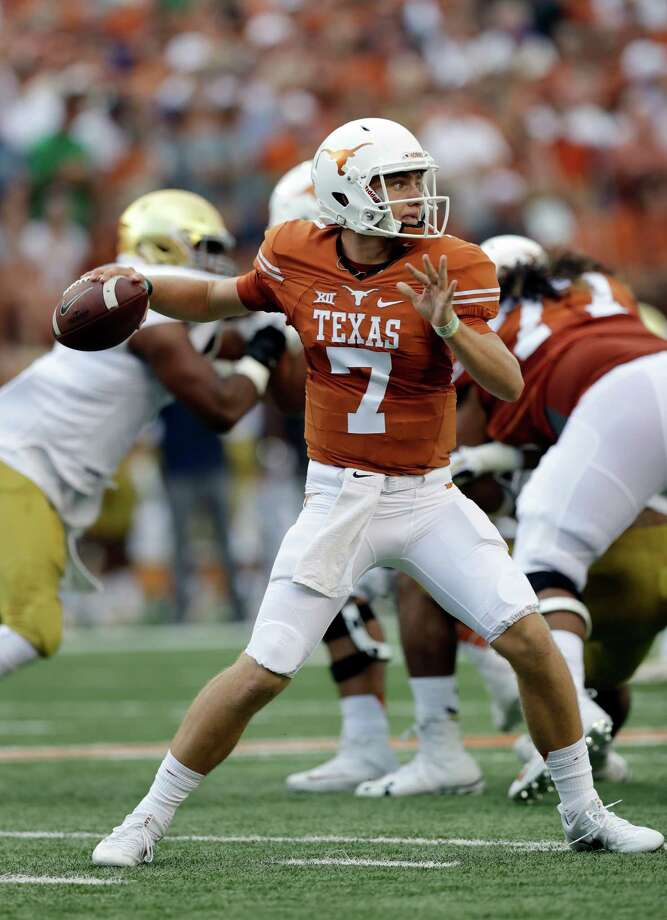 Texas quarterback Shane Buechele throws a pass during the first half of an NCAA college football game against Notre Dame, Sunday, Sept. 4, 2016, in Austin, Texas. (AP Photo/Eric Gay) Photo: Eric Gay, Associated Press / AP