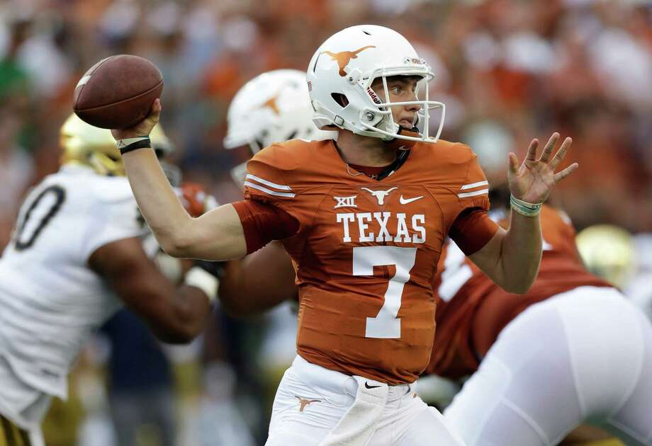 Texas quarterback Shane Buechele throws a pass during the first half of an NCAA college football game against Notre Dame, Sunday, Sept. 4, 2016, in Austin, Texas. (AP Photo/Eric Gay) Photo: Eric Gay, Associated Press / Copyright 2016 The Associated Press. All rights reserved.