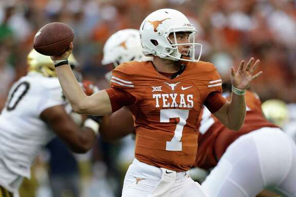 Texas quarterback Shane Buechele throws a pass during the first half of an NCAA college football game against Notre Dame, Sunday, Sept. 4, 2016, in Austin, Texas. (AP Photo/Eric Gay)