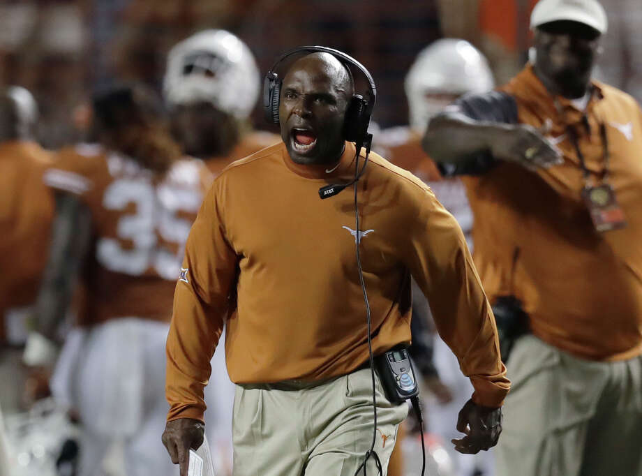 Texas head coach Charlie Strong calls to his players during the second half of an NCAA college football game against Notre Dame, Sunday, Sept. 4, 2016, in Austin, Texas. (AP Photo/Eric Gay) Photo: Eric Gay, Associated Press / Copyright 2016 The Associated Press. All rights reserved.