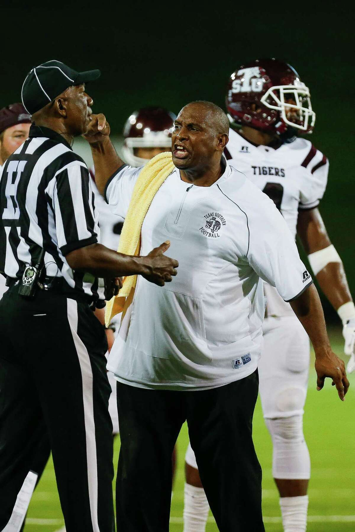 Texas Southern Tigers head coach Mike Haywood yells at a referee after a call for an illegal formation on a fake punt as the Prairie View Am Panthers take on the Texas Southern Tigers at Panther Stadium at Blackshear Field Sunday, September 4, 2016 in Prairie View.