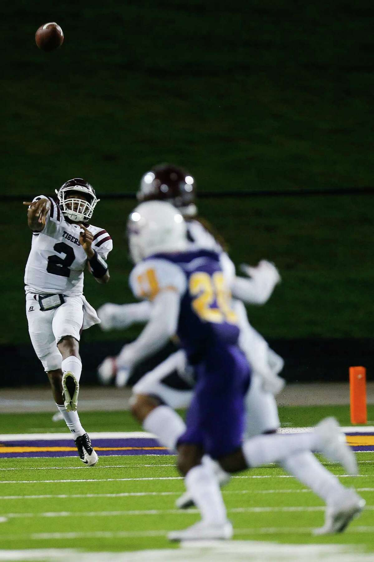 Texas Southern Tigers quarterback Aversion Hurts (2) makes a pas as the Prairie View Am Panthers take on the Texas Southern Tigers at Panther Stadium at Blackshear Field Sunday, September 4, 2016 in Prairie View.
