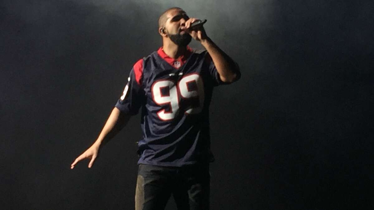 Drake sported a JJ Watt jersey during Sunday's show at Toyota Center.