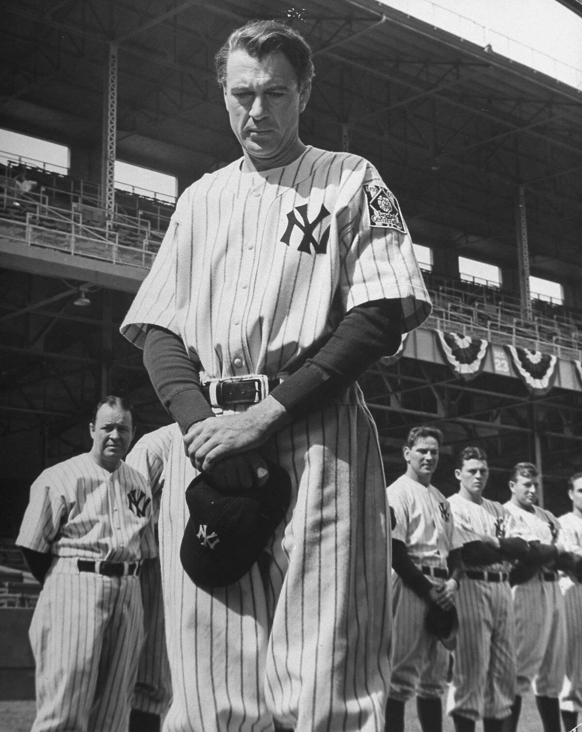 Gary Cooper as Lou Gehrig in film Pride of the Yankees. (Photo by Eliot Elisofon//Time Life Pictures/Getty Images)