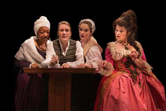 "Callina Situka, from left, Shannon Emerick, Molly Searcy and Bree Welch star in ""The Revolutionists"" at Main Street Theater."