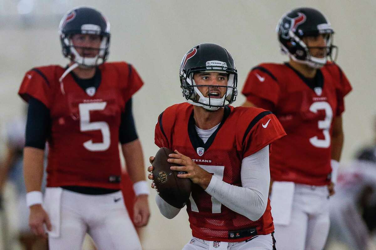 Houston Texans quarterback Brock Osweiler (17) looks to make a pass during practice at the Houston Methodist Training Center Monday, September 5, 2016 in Houston.