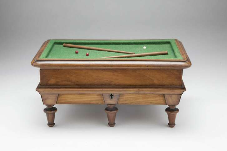 Antiques of River Oaks of Houston, a billiards table letter box circa 1890s,will be at the fall 2016 Houston Antiques & Art & Design Show.