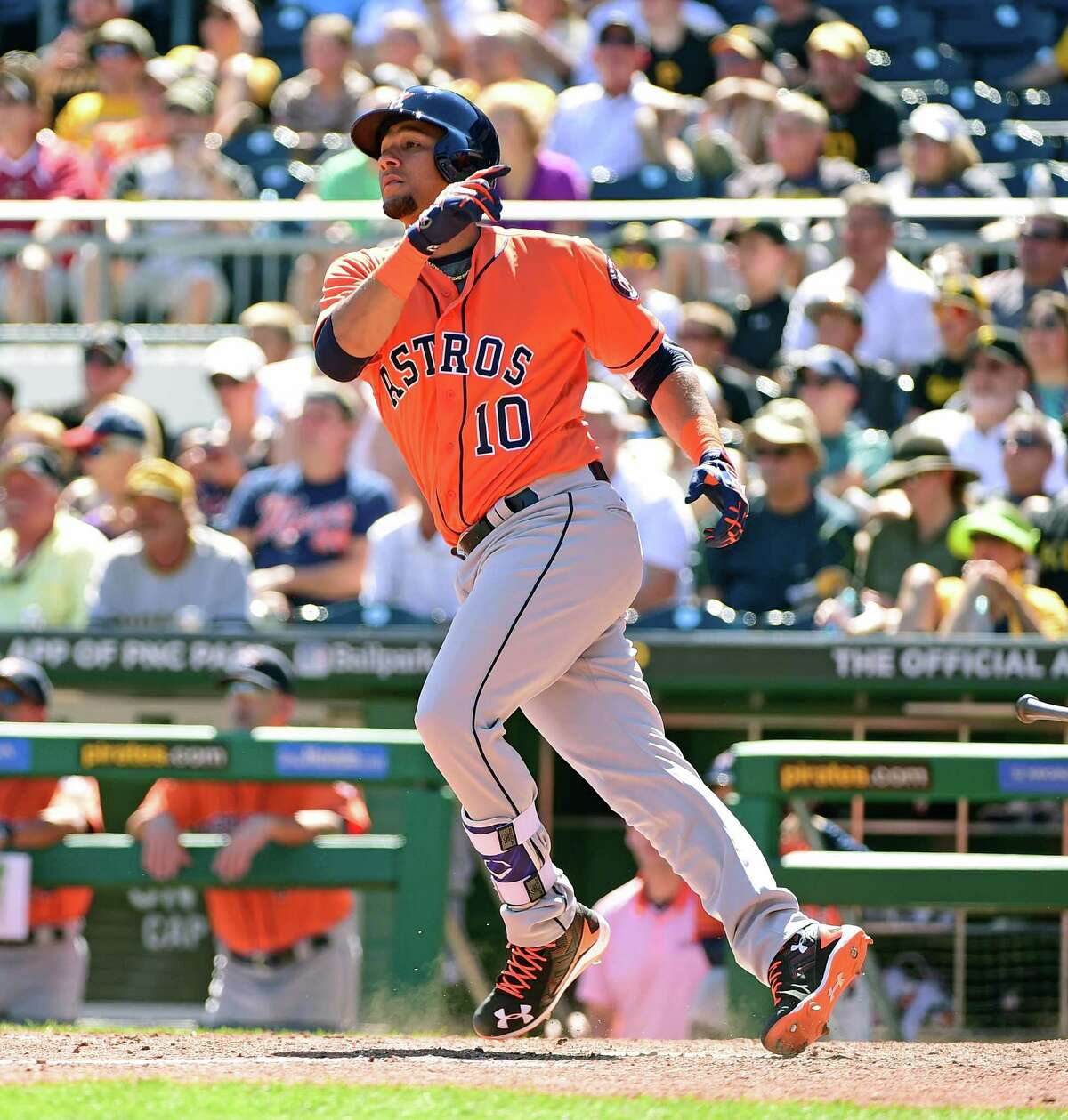 Houston Astros' Yulieski Gurriel swings at a pitch during a baseball game against the Pittsburgh Pirates in Pittsburgh, Wednesday, Aug. 24, 2016. (AP Photo/Fred Vuich)