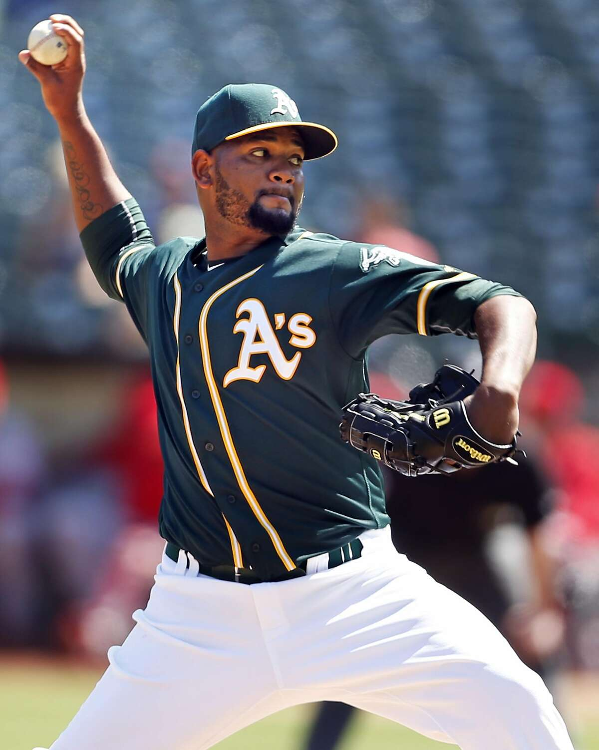 Oakland Athletics' Raul Alcantara delivers in 1st inning against Los Angeles Angels during MLB game at Oakland Coliseum in Oakland, Calif., on Monday, September 5, 2016.