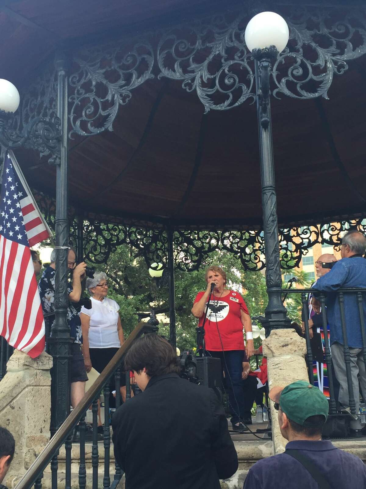 Daria Vera spoke at Milam Park about her experience as a protester or