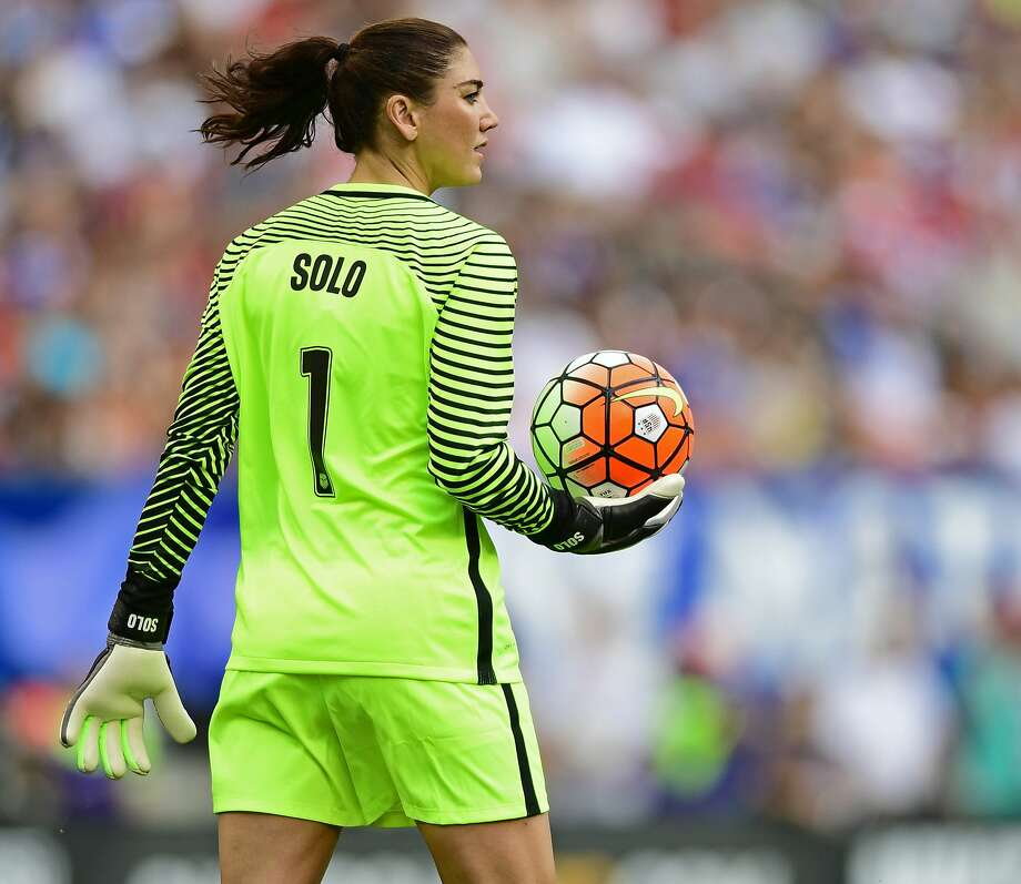 United States goal keeper Hope Solo holds the ball after a stop during the second half of an international friendly soccer match against Japan, Sunday, June 5, 2016, in Cleveland, Ohio.  (AP Photo/David Dermer) Photo: David Dermer, Associated Press