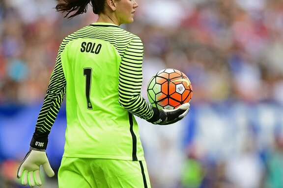 United States goal keeper Hope Solo holds the ball after a stop during the second half of an international friendly soccer match against Japan, Sunday, June 5, 2016, in Cleveland, Ohio.  (AP Photo/David Dermer)